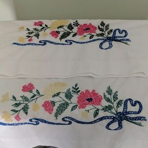 Hand Embroidered Vintage Pillowcases